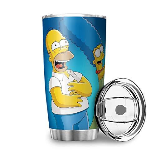 Niersensea Edelstahl Tassen The Simpsons Familie Becher Doppelwand Isolierung Reisebecher Travel Mug mit spritzwassergeschütztem Deckel Reiseflasche Kaffeebecher to Go Isolier-Trinkbecher White 600ml