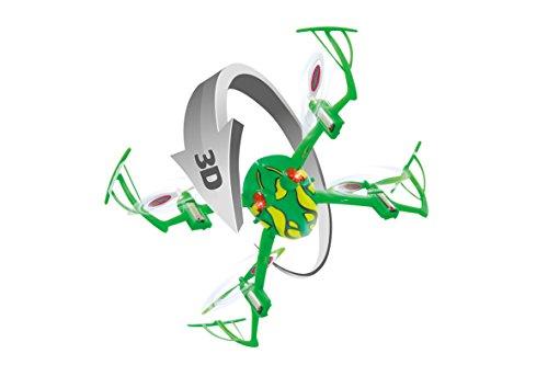 JAMARA 422005 - Loony Frog 3D Drone Kompass Flyback Turbo 2,4G - 3D fähig (Rückenflug) mit Anpassung der Steuerbefehle, 360° Flip, 4 Kraftvolle, Hochleistungsmotoren, bis zu 40 Km/h schnell