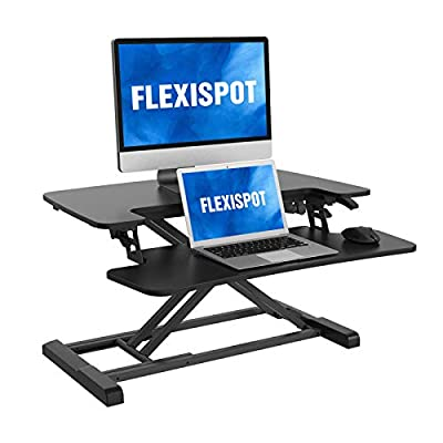 FLEXISPOT Stand Up Desk Converter Standing Desk Riser, Height Adjustable Home Office Desk with Deep Keyboard Tray for Laptop