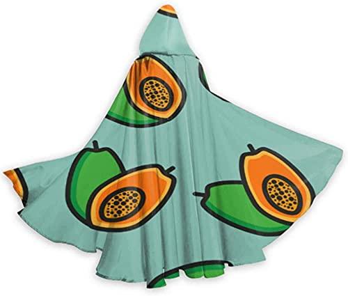 KEROTA Moda lindo crear fruta papaya capa capa para mujeres adultos hombres capa 59 pulgadas para Navidad Halloween Cosplay disfraces