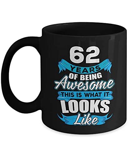 Ideas de cumpleaños 62 para hombres y mujeres, él y ella, regalos para 62 años de edad, fiesta para mamá, papá, esposa, marido, 1958, tazas de café negro de 11 onzas