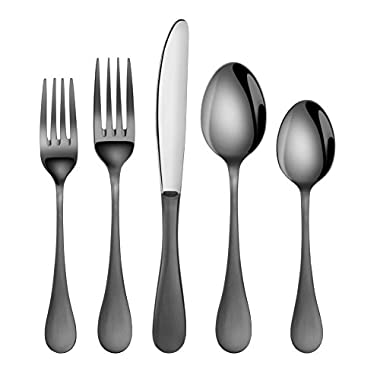 Artaste 56945 Rain 18/10 Stainless Steel Flatware 20-Piece Set, Black Finished, Service for 4