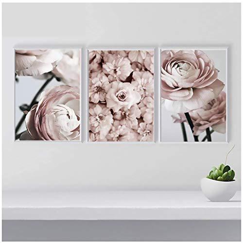 xwlljkcz 3 Stück Rosa Pfingstrose Blume Leinwand Malerei Nordic Wandkunst Bilder Modulare Gemälde Poster und Drucke Für Wohnzimmer Wohnkultur 50x70 cm Kein Rahmen