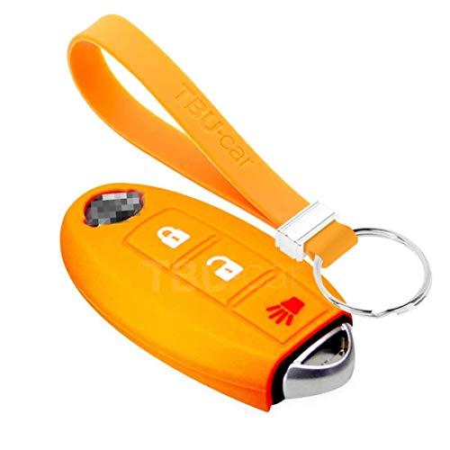 TBU car Funda Carcasa Llave Compatible con Nissan - Funda de Silicona - Cover de Llave Coche - Naranja