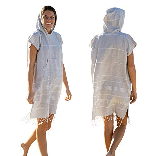 Lost & Leisure Surf Poncho Changing Towel - Change in Soft Cotton Comfort - Hooded Poncho Towel for Adults - Pool, Beach, Wetsuit Changing Towel - Fun Retro Fringe (Small, Isle Grey)