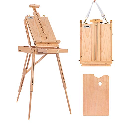 VIVOHOME French Style Wooden Art Easel Portable Tripod Painting Stand Height Adjustable with Sketch Box and Storage Drawer Palette