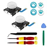Veanic 2-Pack White Replacement Joystick Analog Thumbstick Part for Nintendo Switch Lite Joy-Con Controller - with Repair Tool Kit Y00 Tri-Wing, 1.5 Cross Screwdriver, Pry Tools, 4 Caps