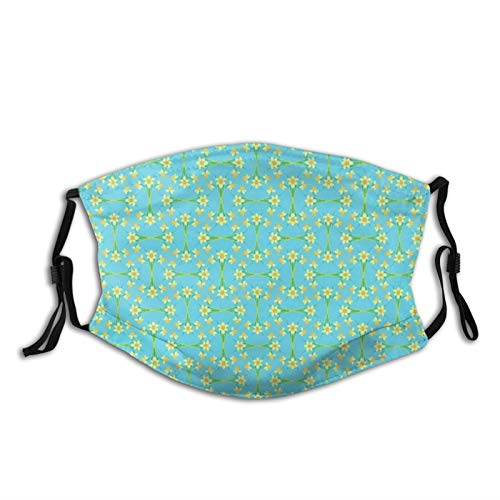 Mei-ltd Golden Daffodils Pattern On Sky Blue Face Ma_sk Washable Reusable Adult Face Cover with Adjustable Nose Wire and Ear Loops