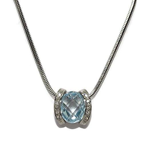 Never Say Never Colgante de 0.10cts de Diamantes Talla Brillante y topacio Azul en Oro Blanco de 18kts y Cadena Cola de Topo de Oro Blanco de 18kts y 40cm de Largo. Cierre mosquetón