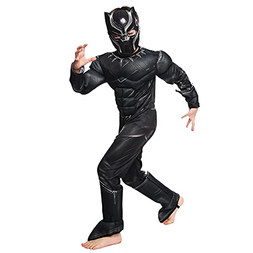 Hflyy Traje Pantera Negra Trajes niños Disfraz Cosplay Mascarada Niños Superhéroe Onesies Fiesta temática Carnaval Mono Regalos de cumpleaños Medias Lycra Spandex Zentai,Black-Kids/S/110~120cm