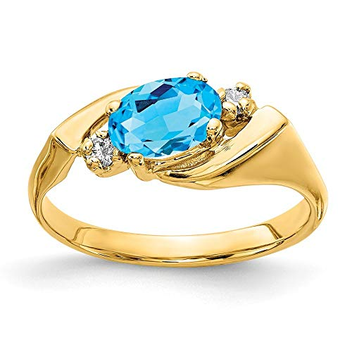 14 ct oro Amarillo Azul topacio anillo de diamante