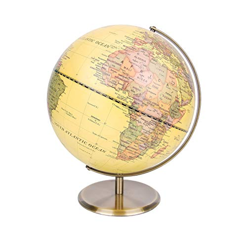 Exerz 30cm World Globe Antique Globe Metal Arc and Base Bronzed colour – Large rotating globe - Educational/Geographic/Modern Desktop Decoration - for School, Home, and Office
