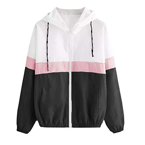 KIMODO Mantel Jacke Damen Herbst Schwarz Blau dünn Kapuzen-Reißverschluss Hoodie Pullover Coats Outwear Mode