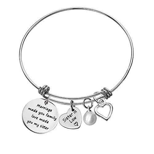 for Sister in Law Bracelet Sister in Law Gift Marriage Made You Family Love Made You My Sister Bangle BraceletChristmas Birthday Gifts Wedding Gifts for Sister in Law