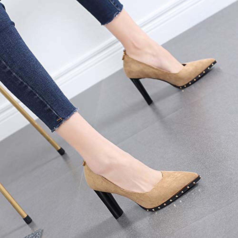 HRCxue Pumps Wildleder dick mit flachen Mund einzelne Schuhe Niet Temperament Spitze High Heels Damenschuhe Wilde Arbeitsschuhe    Elegante Und Stabile Verpackung    Bekannt für seine hervorragende Qualität    Billiger als der Preis