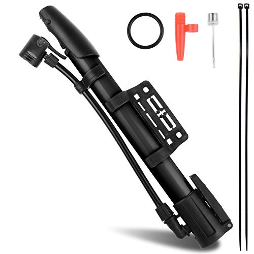 Bicycle Pump,Bike Pump,Mini Portable Aluminum Alloy Bike Tire Pump Kit for Mountain Bike,Swimming Ring,Balloon,Yoga Ball,Basketball,All Kinds of Sport Balls,and Other Inflatables Air Toy Pump(Black)