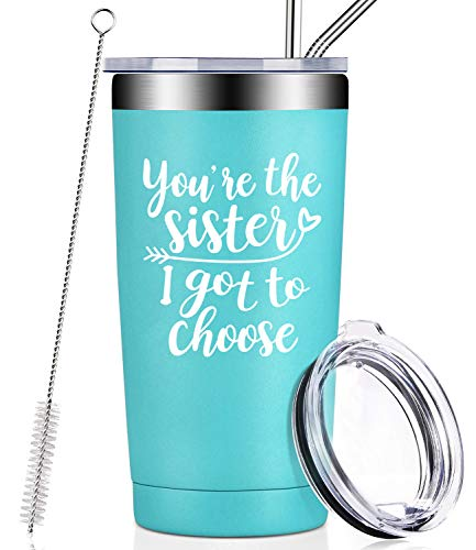 You're the Sister I Got to Choose, Sister Gifts from Sister, Sister Squad Tumblers, Like Sisters in Law Unbiological Birthday Christmas Secret Gifts for Soul Sister, Women, Best Friend - Mint