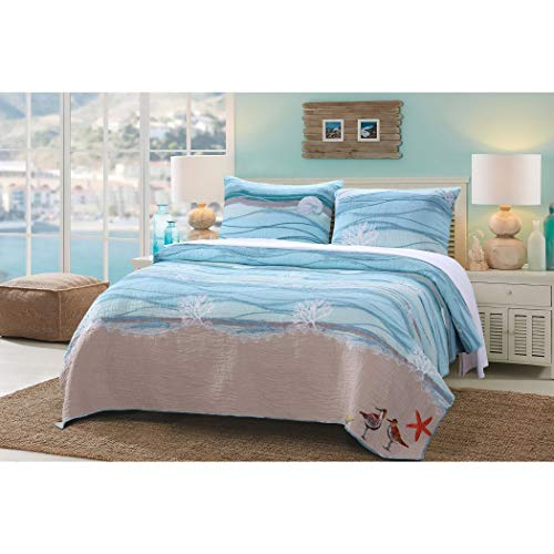 AD 3 Piece Blue Nautical Full Queen Quilt Set, White Sand Nature Coastal Beach Theme Bedding, Turquoise Waves Star Fish Ocean Sea Weed Coral Birds Reversible Solid Color, Cotton Linen Polyester