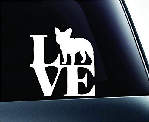Love French Bulldog Dog Symbol Decal Funny Car Truck Sticker Window (White), Decal Sticker Vinyl Car Home Truck Window Laptop
