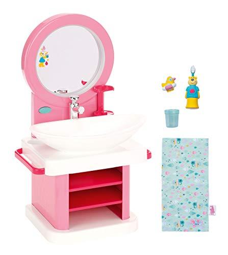 BABY born Waschtisch für Puppen - Leicht für Kleine Hände, kreatives Spiel fördert Empathie & Soziale Fähigkeiten, für Kleinkinder ab 3 Jahren - Inklusive Spiegel, Vibrierender Zahnbürste & mehr