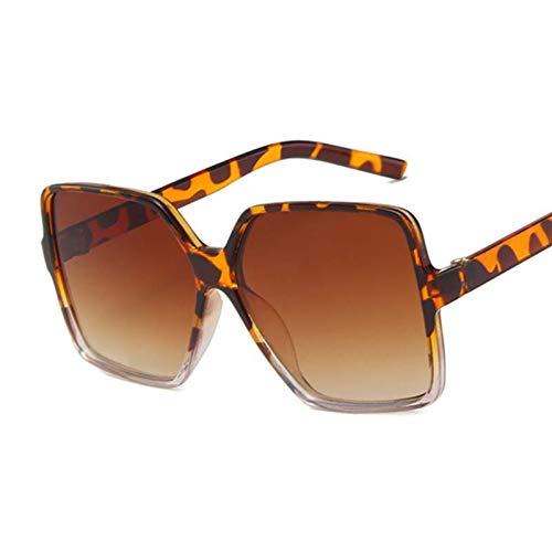 FDNFG Gafas de Sol Gafas de Sol Grandes para Mujer de Gran tamaño Mujeres Vintage Marco Cuadrado Gafas de Sol Femeninas de Gafas degradados Marrones Gafas de Sol (Lenses Color : Leopard Brown)