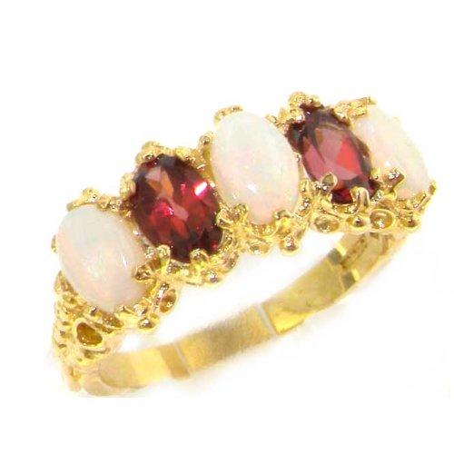 Damen Ring 9 Karat (375) Gelbgold mit Opal Rhodolith - Größe 63 (20.1) - Verfügbare Größen : 50 bis 64