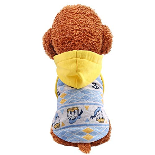 SUNXK Haustier Hund Katze Herbst und Winter Neue Cartoon Hoodie Trendige Kleidung Hund Pullover kleine und mittlere Hunde (Color : Yellow hat, Size : L)