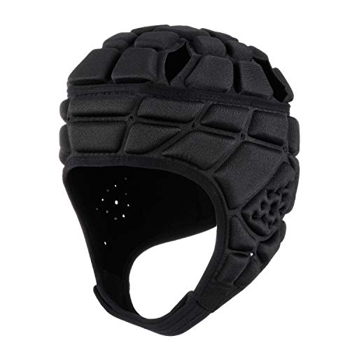 surlim Rugby Helmet Headguard Headgear for Soccer Scrum Cap Soft Protective Helmet for Kids Youth Black Small