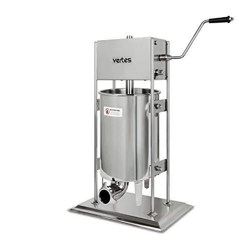 vertes Edelstahl Wurstfüllmaschine Wurstfüller 12 Liter - 2 Gang (inkl. 4 Edelstahl Fülltüllen 16,22,32 und 38mm Ø, 3 zusätzliche Ersatzdichtungen, gehärtetes Stahl-Getriebe)