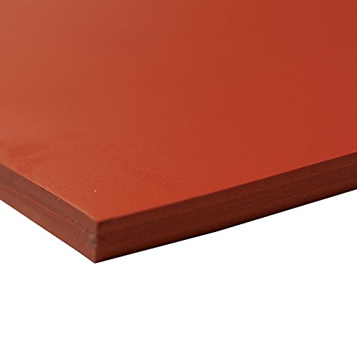 "Silicone Sheet, 60A Durometer, Smooth Finish, No Backing, 0.25"" Thickness, 36"" Width, 6"" Length, Orange"