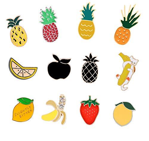 ZSCZQ Mini Fruits Brooch Watermelon Strawberry Orange Banana Apple Pineapple Cartoon Fruit Fashion Brooches For Women And Kids Jewelry Lemon