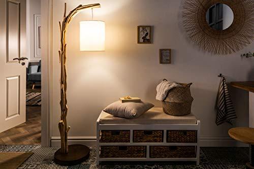 Kunstvolle Stehlampe Treibholz Stoff 163cm Handarbeit Unikat Design Stehleuchte Wohnzimmer ALBERO