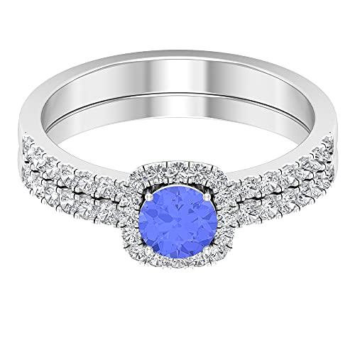 Piedra de nacimiento de mayo — 5,00 mm solitario anillo esmeralda con diamante HI-SI banda de eternidad, juego de anillos nupciales, joyas de oro (calidad AAA), 14K Oro blanco, esmeralda, Size:EU 62