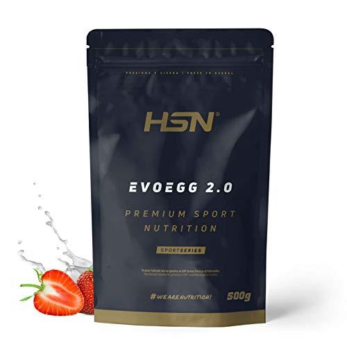Proteína de Huevo de  Evoegg 2.0 | 100% Albúmina de Huevo en Polvo | Egg Protein | Para personas intolerantes a la lactosa y ovo lactovegetarianos | Sin Gluten, Sin Lactosa, Sabor Fresa, 500gr