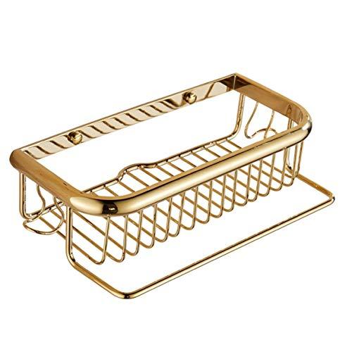 Gouden douche plank hoek plank - badkamer douchebak met handdoekhouder - douchecabine - bevestiging zonder boren - koper met gepolijste afwerking, rechthoekige douchecabine, diepe enkele verdieping, - keukens & badkamer opslag,45CM