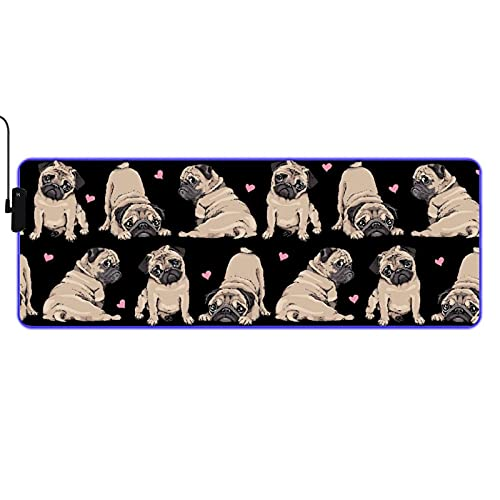 VINISATH Table Mat,Adorable Beige Pug Puppies and Pink Hearts,LED Large RGB Waterproof Gaming Mouse Pad Non Slip Base Luminous Protector Table Mat for Gaming,PC,Laptop,Office,Home 31.5x11.8 Inches