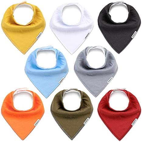 KiddyCare Baby Bandana Bibs 8 Pack Organic Cotton for Drooling and Teething Super Absorbent product image