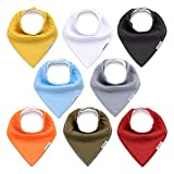 KiddyCare Baby Bibs 8 Pack - 100% Organic Cotton for Drooling and Teething - Soft & Absorbent Bandana Drool Bibs for Boys and Girls - Baby Shower Gift Set
