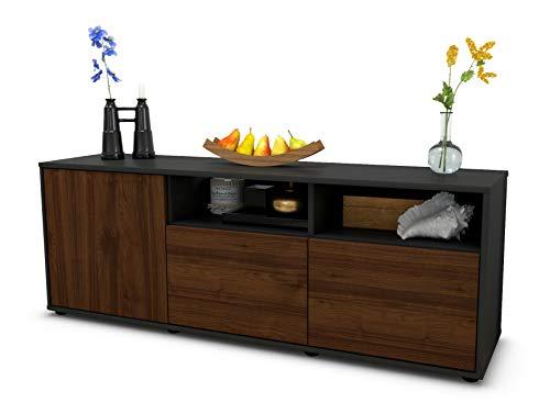 TV Schrank Lowboard Angelina, Korpus in anthrazit matt / Front im Holz Design Walnuss (135x49x35cm), mit Push to Open Technik, Made in Germany