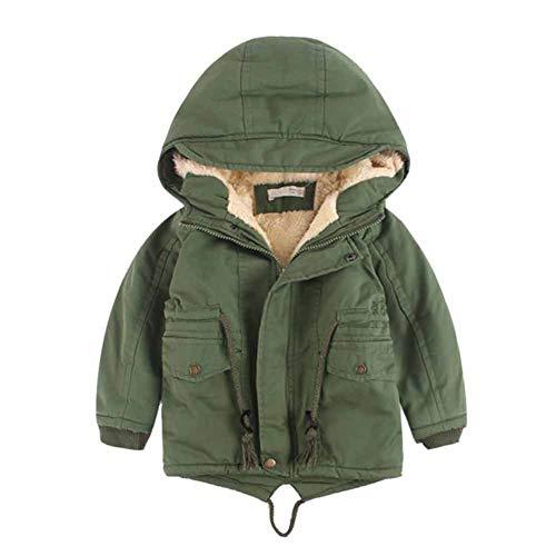 CHIYEEE Jungen Winterjacke Fleecefutter Mantel Windjacke für Kinder Grün