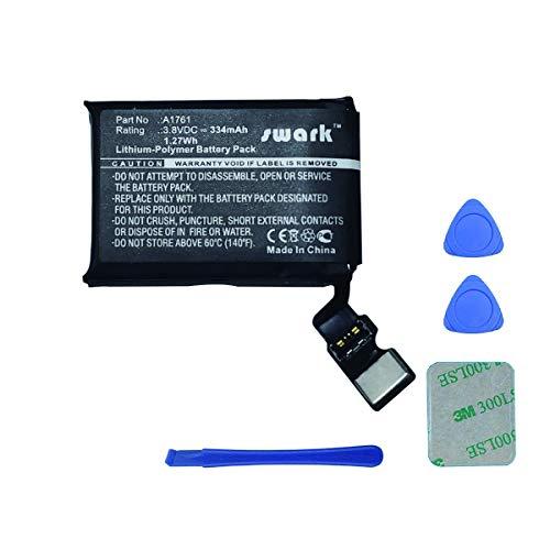 Swark Batería de repuesto A1761 compatible con Watch 2 iWatch 2 A1761 42 mm (2ª generación), MNNN2LL/A, MP032LL/a 334 mAh 3,8 V + herramientas.