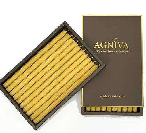 AGNIVA - Natürliche 100% Bienenwachskerzen - Tischkerzen - Weihnachtsgeschenke - 10 Stück (+ Wunschkerze) - Ø1.5 x 25 cm - Brenndauer 60 Stunden - Ungiftig - rußfreies Abbrennen