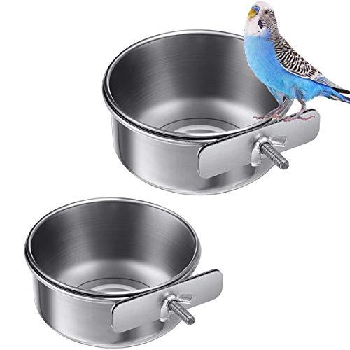 wegreeco 2 Stück Vogelfutterschalen Tassen Edelstahl Papageien-Futterbecher Tierkäfig Wasser Futternapf Vogelkäfig Tassen Halter mit Klemme Halter für Vögel Papageien Wasser Futterschale
