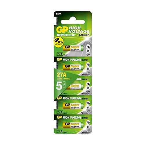 GP Batterien 27A 12V Alkaline (A27, MN27, V27A), High-Voltage (12 Volt), 5 Stück (Batterien einzeln entnehmbar)
