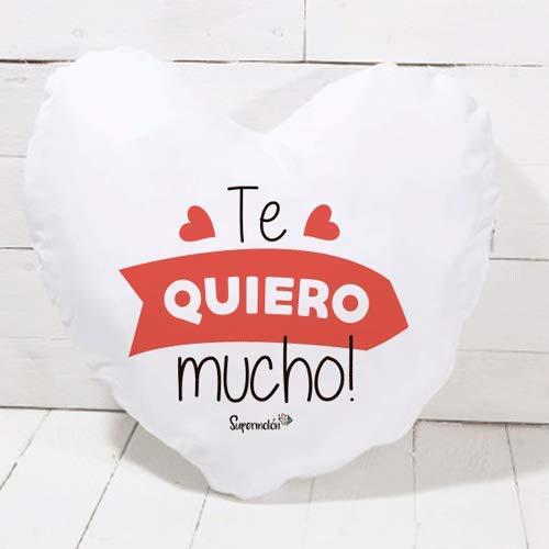 SUPERMOLON Cojín corazón Te Quiero Mucho - Regalo San Valentín, Enamorados, Aniversario, Amor - Cojín Forma de corazón 40x40 cm con Relleno Incluido
