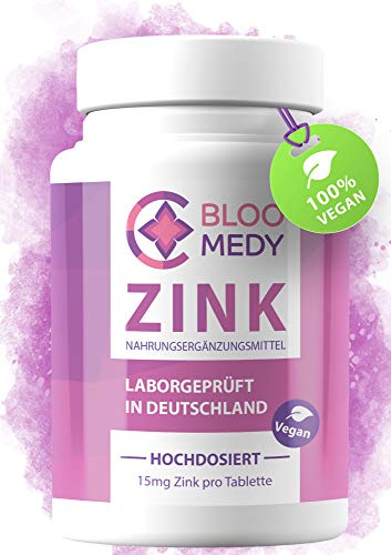 Zink hochdosiert – 365 vegane Tabletten – Laborgeprüft in Deutschland – 15mg Zink pro Tablette – Hoch bioverfügbares Zinc – Premium Zink Tabletten Jahresvorrat – Hochdosiertes Zink ohne Zusatzstoffe