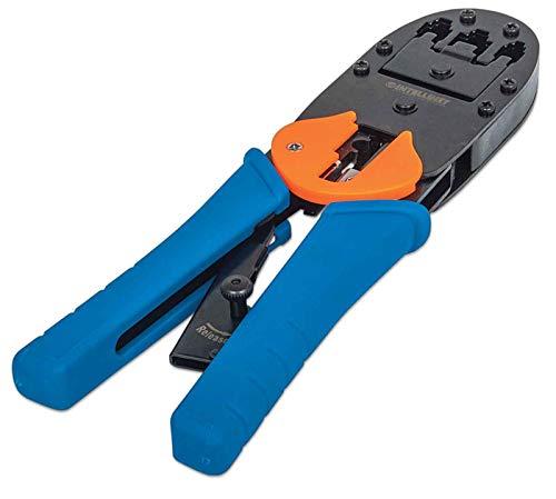 Intellinet Universal Crimpwerkzeug für RJ45, RJ12 und RJ11 Modularstecker blau 211048