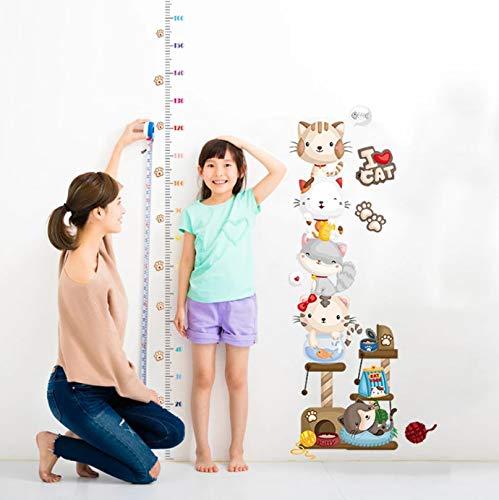 Pegatinas de gato de dibujos animados, pegatina de regla de medición de altura para niños y niñas, decoración de habitación de bebé, murales de vinilo extraíbles, calcomanías impermeables