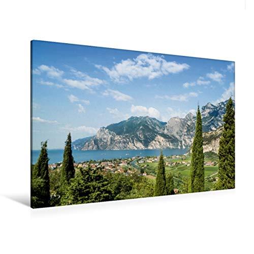 CALVENDO Premium Textil-Leinwand 120 x 80 cm Quer-Format GARDASEE Panoramablick, Leinwanddruck von Melanie Viola