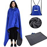 Dobye Outdoor Stadium Blanket, Waterproof Outdoor Fleece Blanket, Windproof Hooded Blanket for Camping, Picnic, Sports, Travel, Concerts, Festival, Dogs, Large